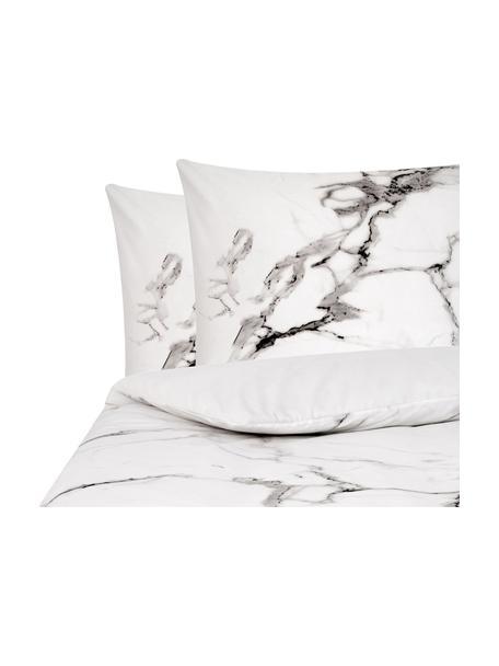 Parure copripiumino reversibile Malin, Fronte: motivo marmorizzato, grigio Retro: grigio chiaro, monocolore, 240 x 220 cm