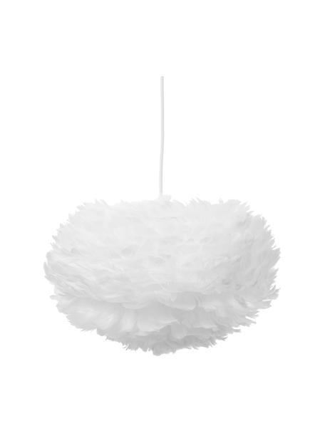 Hanglamp Eos van veren, Lampenkap: ganzenveren, staal, Baldakijn: kunststof, Wit, Ø 45  x H 30 cm
