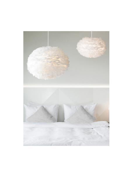 Lámpara de techo de plumas Eos, Pantalla: plumas de ganso, acero, Anclaje: plástico, Blanco, Ø 45 x Al 30 cm