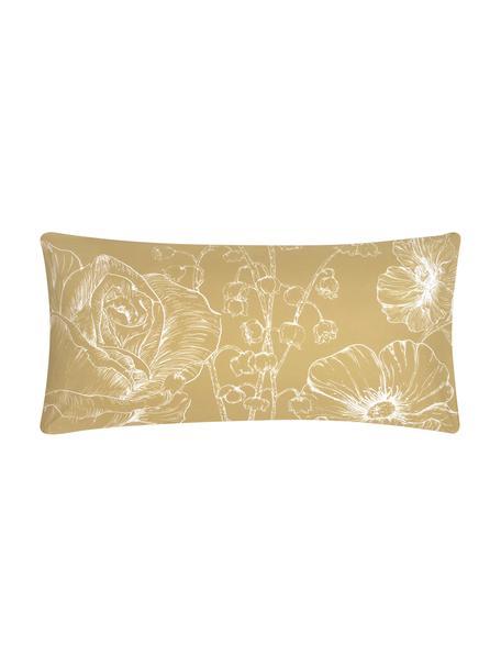 Baumwollperkal-Kissenbezüge Keno mit Blumenprint, 2 Stück, Webart: Perkal Fadendichte 180 TC, Senfgelb, Weiß, 40 x 80 cm