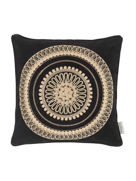 Schwarzes Kissen Tina mit goldener Stickerei, mit Inlett, 80% Baumwolle, 20% Polyester, Schwarz, Beige, 45 x 45 cm