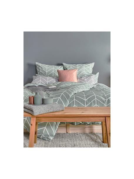 Poszewka na poduszkę z bawełny Mirja, 2 szt., Zielony, kremowobiały, S 40 x D 80 cm