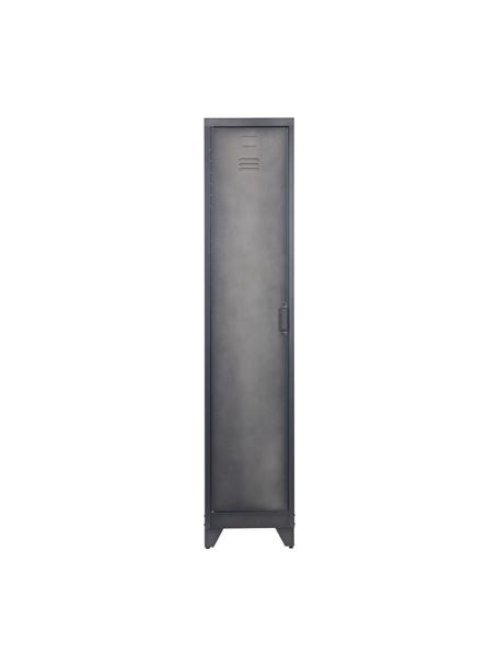 Metalen kast Cas met deur, Gecoat metaal, Donkergrijs, 38 x 180 cm