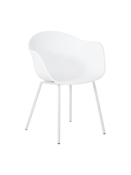 Krzesło z podłokietnikami z tworzywa sztucznego Claire, Nogi: metal malowany proszkowo, Biały, S 60 x G 54 cm