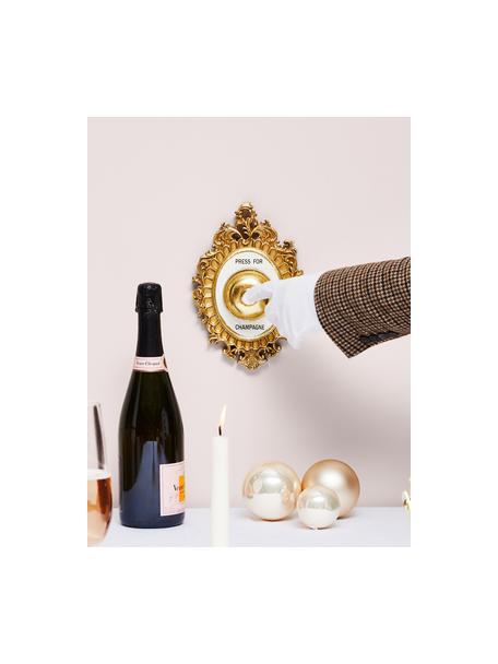 Wandobjekt Bell aus Polyresin, Rahmen: Polyresin, Glocke: Metall, Goldfarben, Weiß, Schwarz, 14 x 23 cm