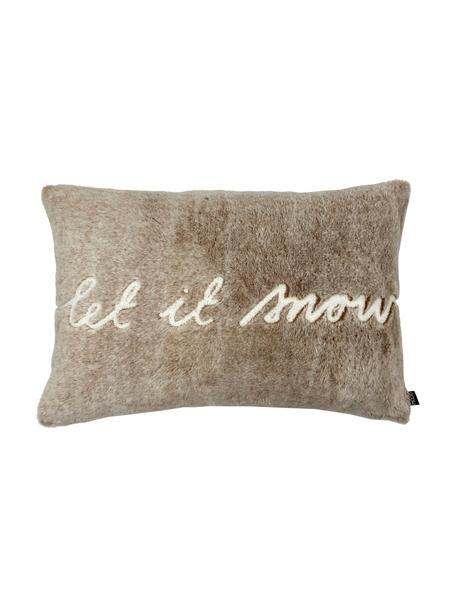 Flauschige Kunstfell-Kissenhülle Snow in Beige, Vorderseite: 100% Polyester, Rückseite: 100% Polyestersamt, Beige, Weiß, 40 x 60 cm