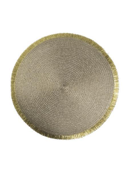 Runde Kunststoff-Tischsets Linda in Gold mit Fransen, 6 Stück, Kunststoff, Goldfarben, Ø 38 cm