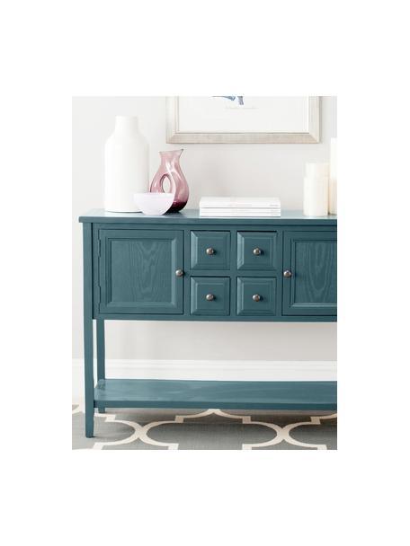 Blauw dressoir Amy in landelijke stijl, Frame: olmenhout, gelakt grenenh, Petrolkleurig, 116 x 86 cm