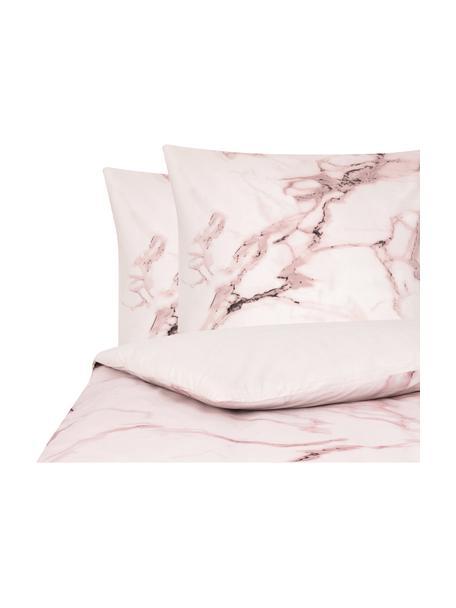 Parure copripiumino reversibile Malin, Fronte: modello in marmo, rosa Retro: rosa, monocolore, 255 x 200 cm + 2 federe 50 x 80 cm