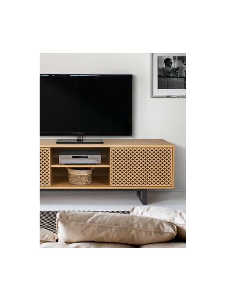 Szafka RTV z drzwiczkami Camden, Nogi: drewno brzozowe, lakierow, Drewno dębowe, czarny, S 150 x W 50 cm
