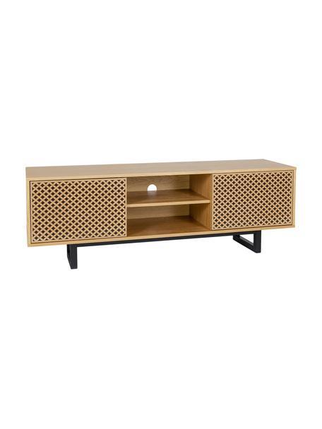 Tv-meubel Camden met deuren en eikenhoutfineer, Poten: berkenhout, gelakt, Eikenhoutkleurig, zwart, 150 x 50 cm