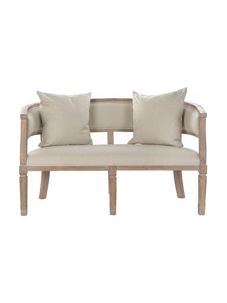 Divano 2 posti in lino beige Garbanzo, Rivestimento: lino, Struttura: legno di albero della gom, Beige, Larg. 122 x Prof. 69 cm