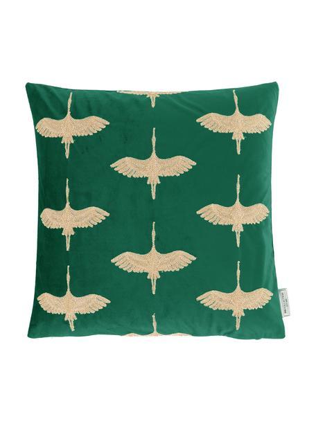 Geborduurd fluwelen kussen Crane in turquoise groen/goudkleur, met vulling, Polyester fluweel, Groen, goudkleurig, 45 x 45 cm