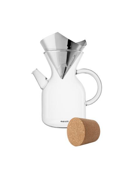 Komplet zaparzacza do kawy ze szkła z filtrem i pokrywką Vetro, 3 elem., Transparentny, stal szlachetna, 1 l