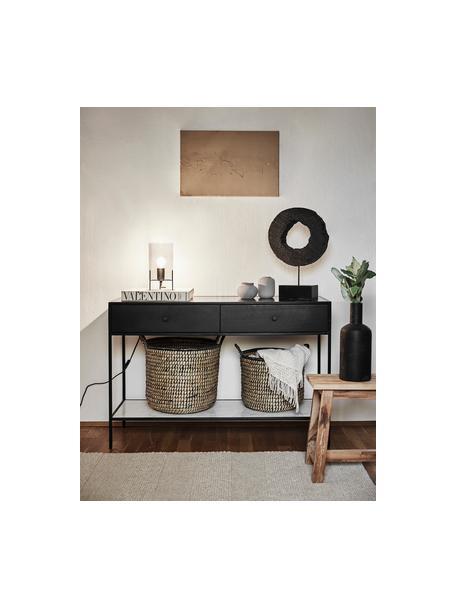 Wandtafel Lenny met lades, Frame: MDF met gelakt mangohoutf, Plank: marmer, Frame: gepoedercoat metaal, Zwart, wit-grijs marmer, 120 x 80 cm