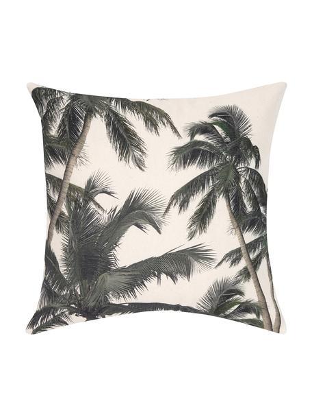 Federa arredo con motivo tropicale Mogli, 100% cotone, Ecru, verde, Larg. 40 x Lung. 40 cm