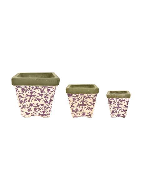Kleines Pflanztopf-Set Cerino, 3-tlg., Keramik, Lila, Beige, Grau, Set mit verschiedenen Größen