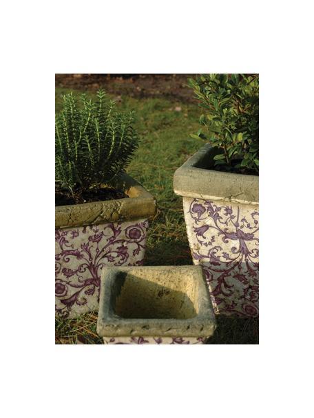Kleine plantenpottenset Cerino, 3-delig, Keramiek, Lila, beige, grijs, Set met verschillende formaten