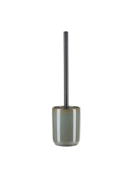 Toiletborstel Tin met keramische houder, Houder: keramiek, Groen, zwart, Ø 10 x H 39 cm