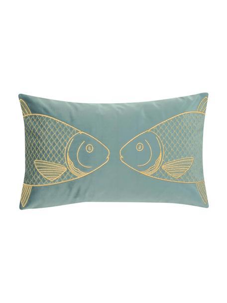 Haftowana poszewka na poduszkę z aksamitu Caja, 100% aksamit poliestrowy, Zielony miętowy, S 30 x D 50 cm
