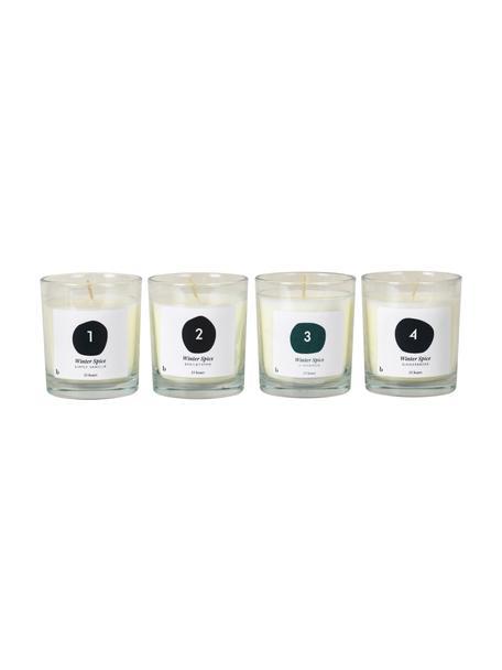 Set 4 candele profumate dell'Avvento Lilu, alt. 8 cm, Cera, Bianco, Ø 7 x Alt. 8 cm