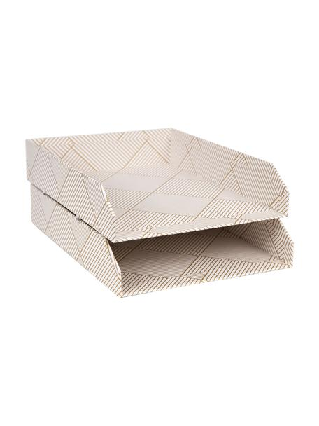 Bandejas para documentos Hakan, 2uds., Cartón laminado macizo, Dorado, blanco, An 23 x F 31 cm