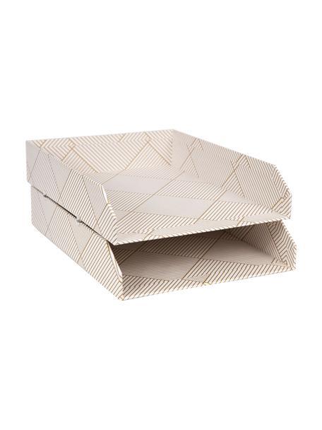 Vassoio per documenti Hakan 2 pz, Solido, cartone laminato, Dorato, bianco, Larg. 23 x Prof. 31 cm