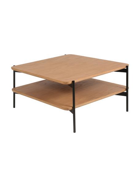 Stolik kawowy z drewna i metalu Easy, Blat: płyta pilśniowa średniej , Nogi: metal powlekany, Czarny, brązowy, S 74 x W 37 cm
