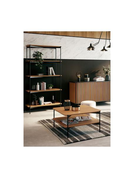 Salontafel Easy van hout en metaal, Tafelblad: MDF met eikenhoutfineer, Poten: gecoat metaal, Zwart, bruin, 74 x 37 cm