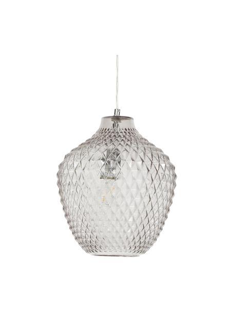 Kleine hanglamp Lee van getint glas, Lampenkap: glas, Baldakijn: verchroomd metaal, Fitting: verchroomd metaal, Grijs, transparant, chroom, Ø 27 x H 33 cm