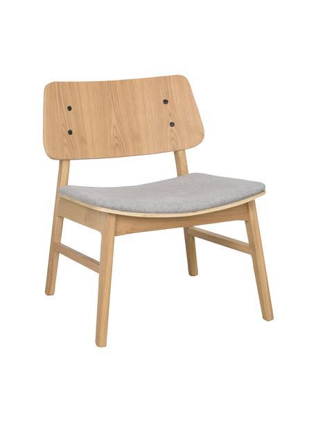 Sedia a poltrona in legno di quercia Nagano, Rivestimento: 100% poliestere, Marrone chiaro, grigio chiaro, Larg. 57 x Prof. 50 cm