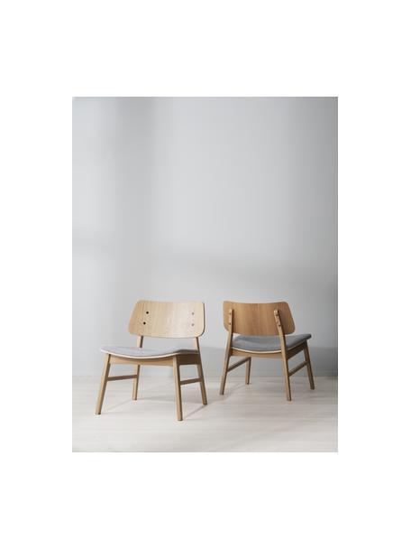 Sillón de madera de roble Nagano, Tapizado: 100%poliéster, Asiento: madera contrachapada, Beige, gris claro, An 57 x F 50 cm