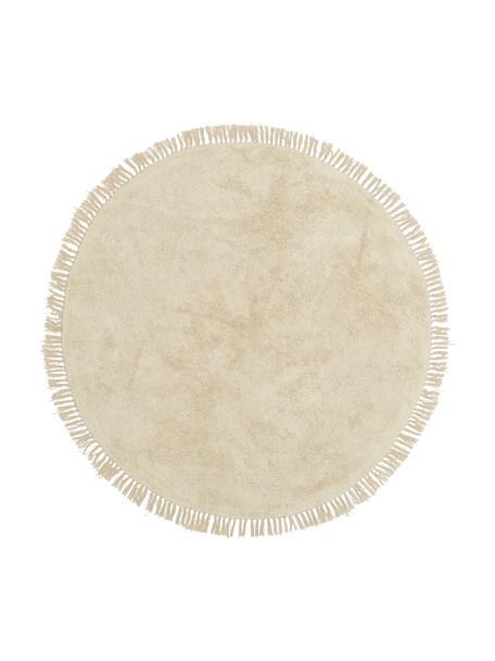 Runder Baumwollteppich Plain in mit Fransen, handgetuftet, Beige,Weiß, Ø 150 cm (Größe M)