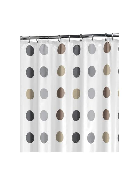Douchegordijn Twister, 100% polyester Waterafstotend, niet waterdicht, Wit, beige, taupe, grijs, 180 x 200 cm