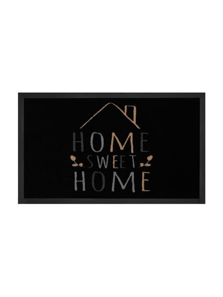 Felpudo de poliamida Home Sweet Home, Parte superior: poliamida, Reverso: goma, Negro, gris, beige, An 45 x L 75 cm