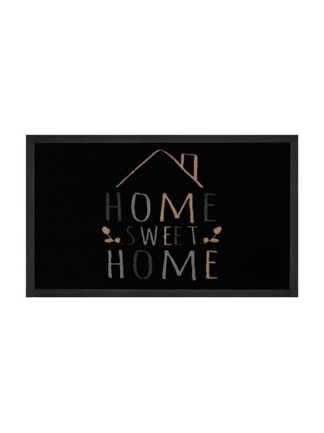 Polyamide deurmat Home Sweet Home, Bovenzijde: polyamide, Onderzijde: rubber, Zwart, grijs, beige, 45 x 75 cm