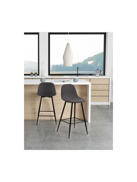 Taburetes altos Wilma, 2uds., Tapizado: poliéster, Estructura: metal pintado, Gris, An 44 x Al 91 cm