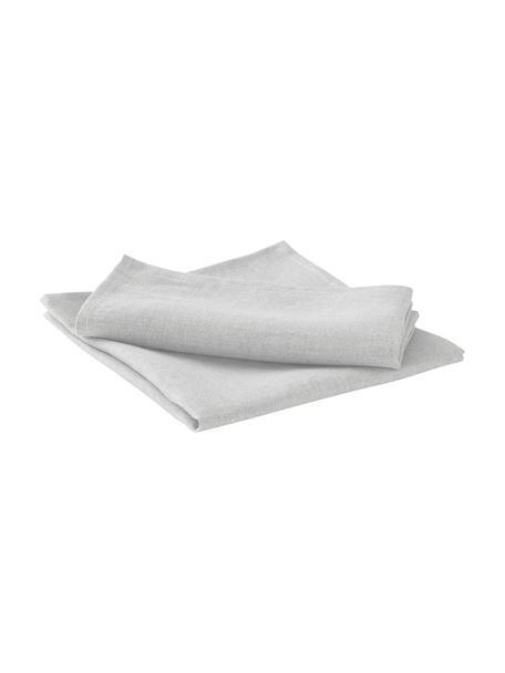 Servilletas de lino Heddie, 2uds., 100%lino, Gris claro, An 45 x L 45 cm