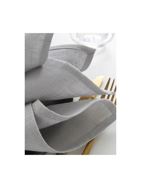 Linnen servetten Heddie in lichtgrijs, 2 stuks, 100% linnen, Lichtgrijs, 45 x 45 cm