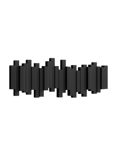 Garderobenhaken mit Stäbchendesign in Schwarz, Kunststoff, Schwarz, 48 x 18 cm
