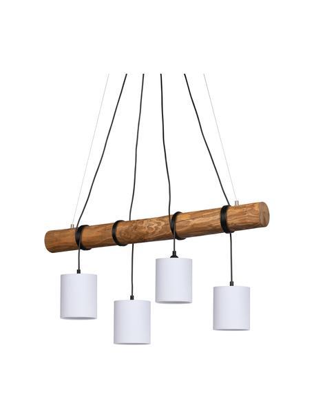 Lámpara de techo grande de madera Pietro, Pantalla: tela, Barra: madera de pino barniza, Anclaje: metal recubierto, Cable: plástico, Marrón, blanco, An 90 x Al 140 cm