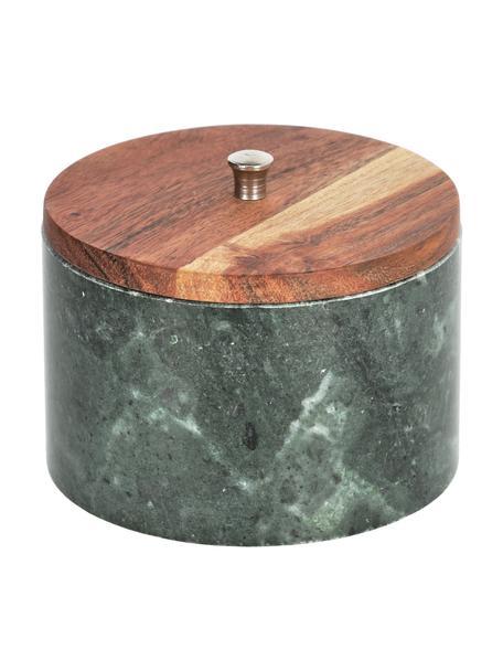 Contenitore in marmo verde Karla, Contenitore: marmo, Coperchio: legno di acacia, Verde, tonalità marroni, Ø 13 x Alt. 10 cm