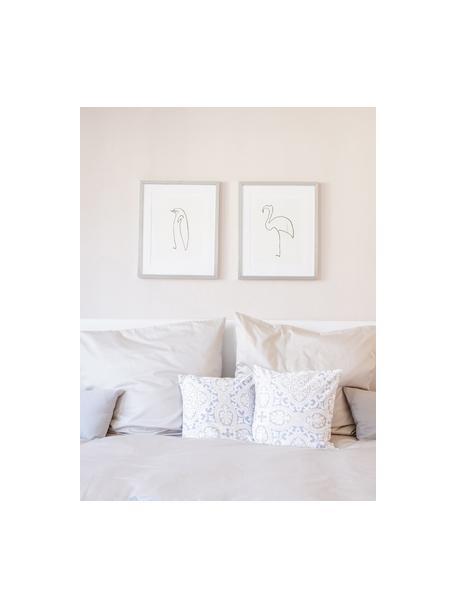 Oprawiony druk cyfrowy Picasso's Flamingo, Stelaż: tworzywo sztuczne, antycz, Ilustracja: czarny, biały Stelaż: odcienie srebrnego, S 40 x W 50 cm