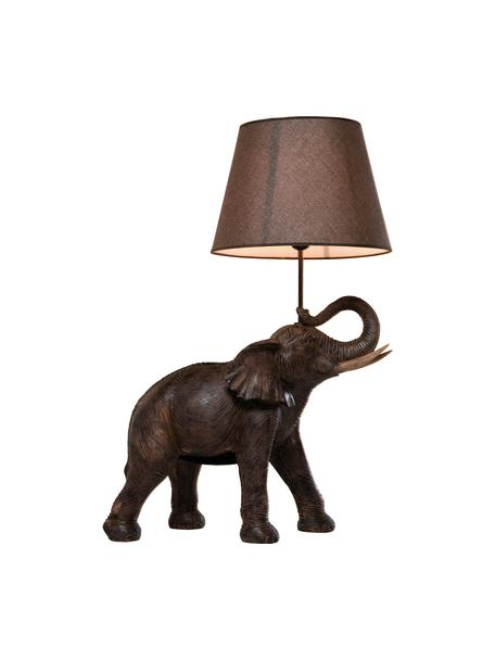 Große Boho-Tischlampe Elephant, Lampenschirm: Leinen, Lampenfuß: Polyresin, Stange: Stahl, pulverbeschichtet, Taupe, Braun, 52 x 74 cm
