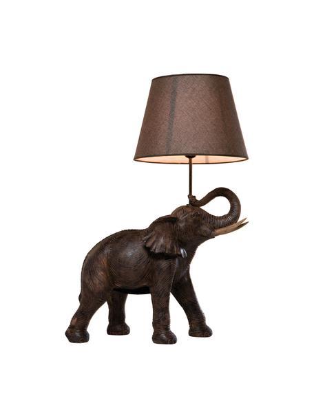 Grote boho tafellamp Elephant, Lampenkap: linnen, Lampvoet: polyresin, Stang: gepoedercoat staal, Taupe, bruin, 52 x 74 cm