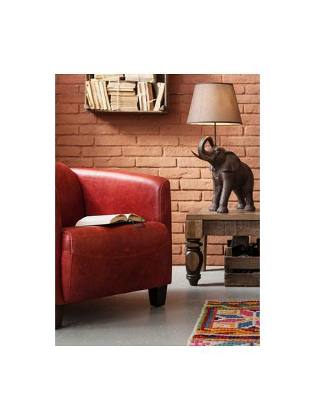 Lampada da tavolo boho Elephant, Paralume: lino, Base della lampada: poliresina, Asta: acciaio, verniciato a pol, Taupe, marrone, Larg. 52 x Alt. 74 cm