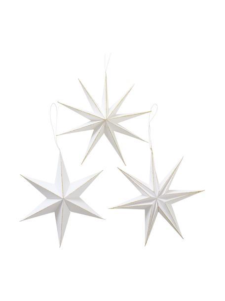 Komplet gwiazd wiszących Mariola, 3 elem., Papier, Biały, Ø 20 cm