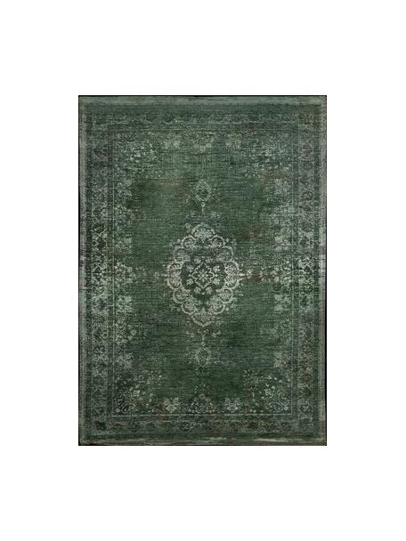 Alfombra de chenilla Medaillon, estilo vintage, Verde oscuro, beige, An 80 x L 150 cm (Tamaño XS)