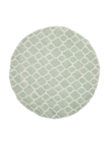 Rond hoogpolig vloerkleed Mona in mintgroen/crèmekleur, Bovenzijde: 100% polypropyleen, Onderzijde: 78% jute, 14% katoen, 8% , Mintgroen, crèmewit, Ø 150 cm (maat M)