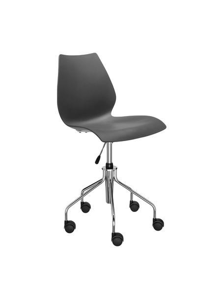Zwarte bureaustoel Maui, in hoogte verstelbaar, Frame: verchroomd staal, Zitvlak: polypropyleen, Zwart, chroomkleurig, B 58  x D 52 cm